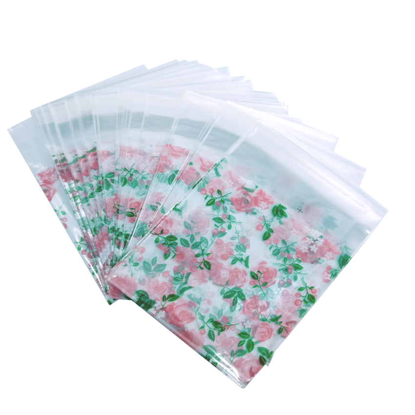 100pcs/lot 7*7cm Cute Dark Green Flower Cookies Biscuits Bags Self-adhesive Gift Bags