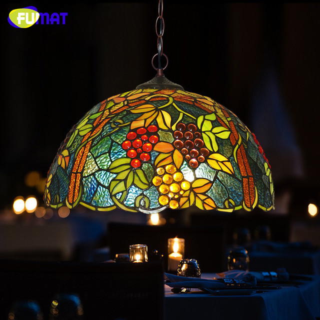 FUMAT Stained Glass Pendant Lamp Vintage Grape Light Living Room Kitchen Dining Bar