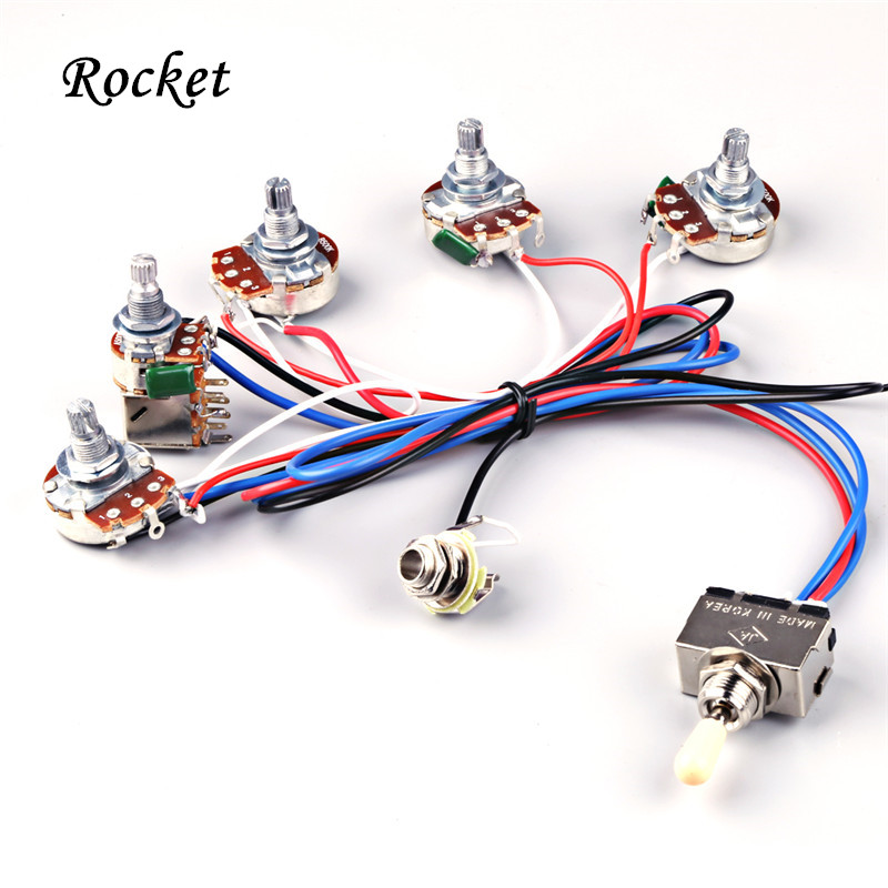 electric guitar wiring harness kit 2v2t with pot jack 3 way switch for gibson les paul lp parts. Black Bedroom Furniture Sets. Home Design Ideas