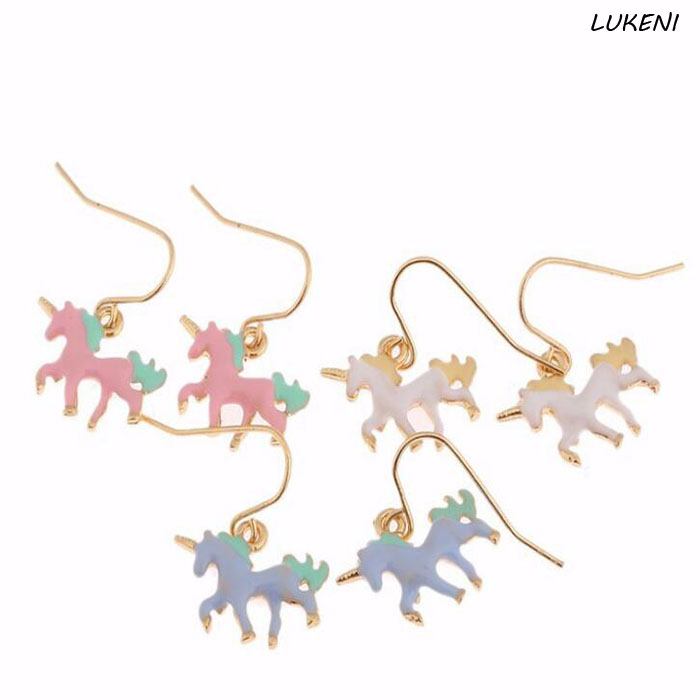 1 Pair Hot Sale Fashion Elegant Enamel Unicorn Stud Earrings Women Jewelry