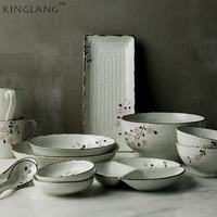 KINGLANG 2 человек/6 человек наборы керамической посуды японский цветок разработан Керамика чаши Длинные суши большой набор мисок для обеда