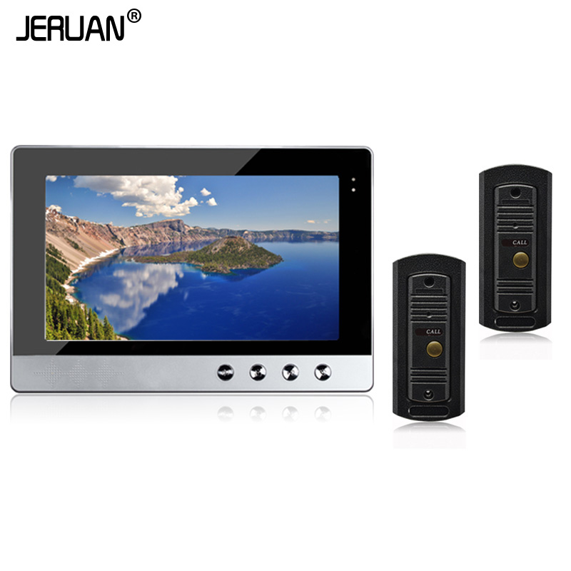 JERUAN  New Wired 10 inch Color LCD Screen Video Door Phone Intercom System + 2 Waterproof Outdoor Bell Camera Free Shipping hsd100ifw2 john color new 10 inch lcd screen