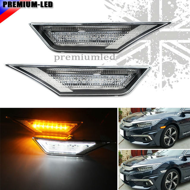 (2) Amber and white LED Lights w/ OEM JDM Clear White Lens Side & 2) Amber and white LED Lights w/ OEM JDM Clear White Lens Side ...