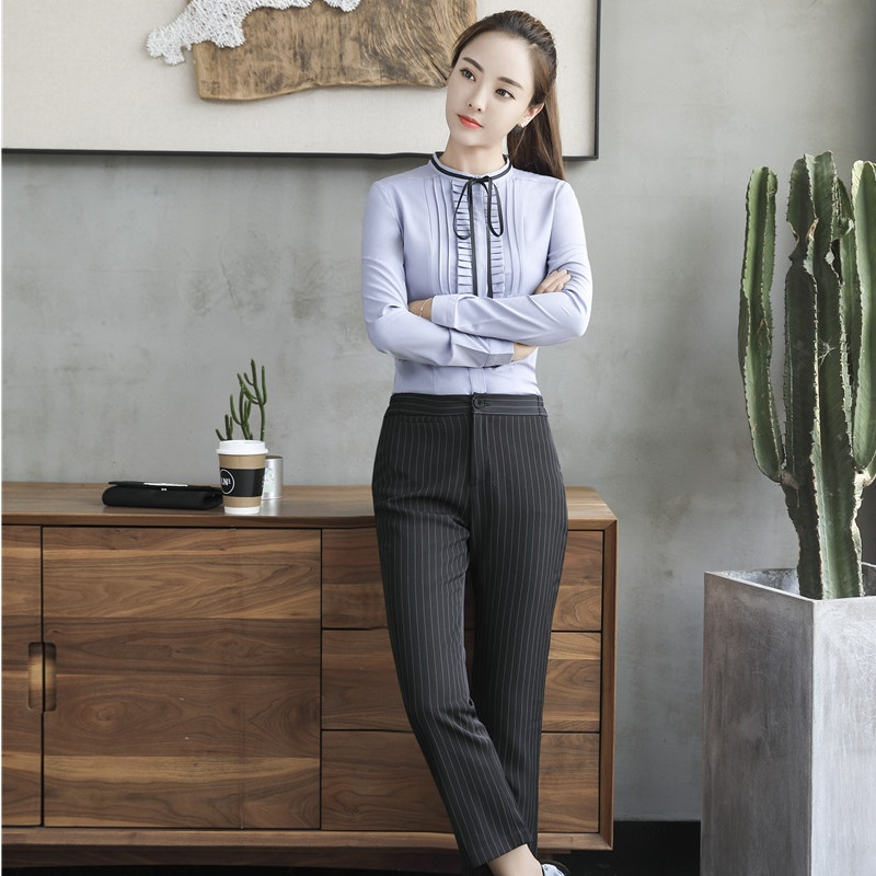 Formal Uniform Styles Pantsuits With 2 Piece Blouses And Pants For Business Women Office Work Wear Pants Suits Trousers Sets