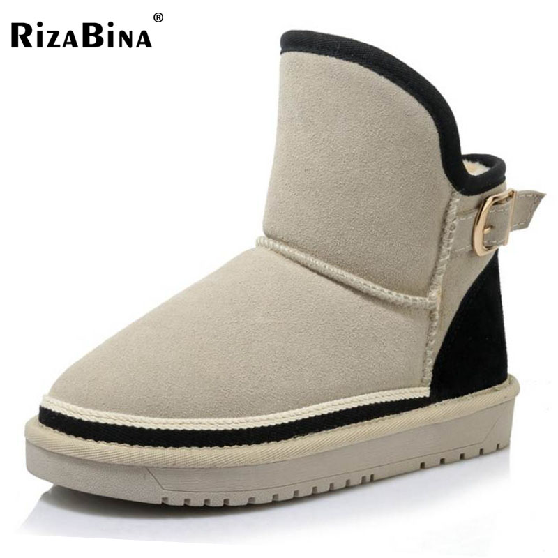RizaBina Size 35-43 Cold Winter Snow Boots Women Real Leather Thick Fur Inside Anlkle Warm Boots Women Thick Platform Flat Bota