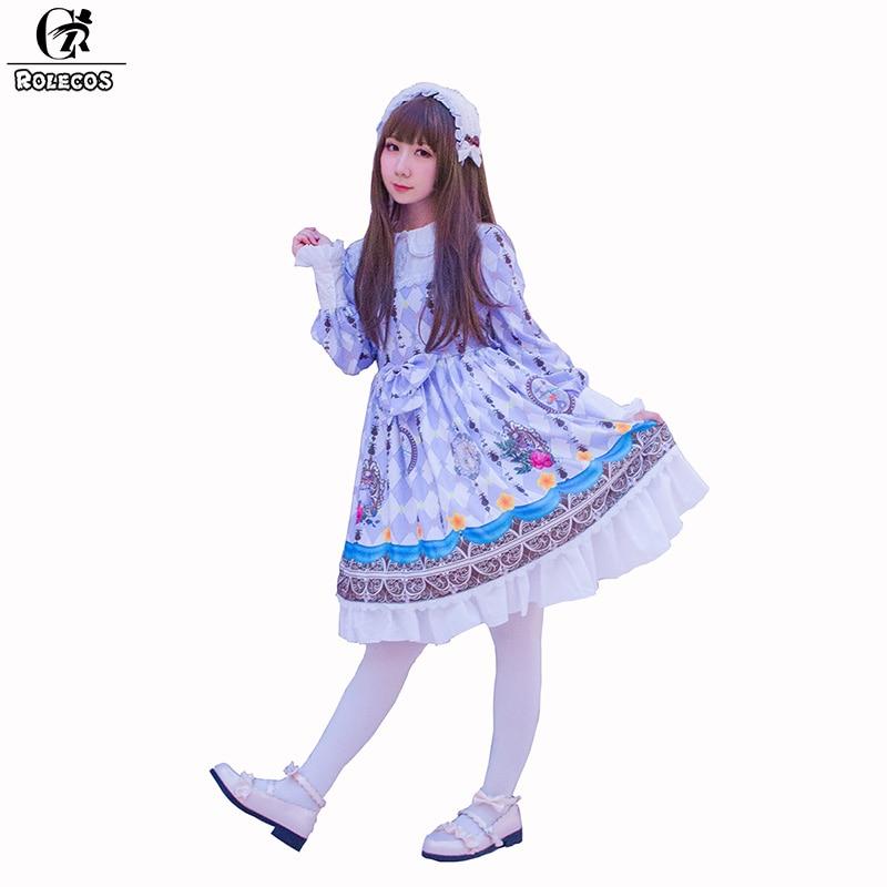 ROLECOS 2018 New Arrival Women Lolita Dress Color Purple Floral Print Dress Long Sleeve Sweet Lolita Dress for Female зеркало fbs decora 50x65 см с фацетом 10 мм вертикальное или горизонтальное cz 0805