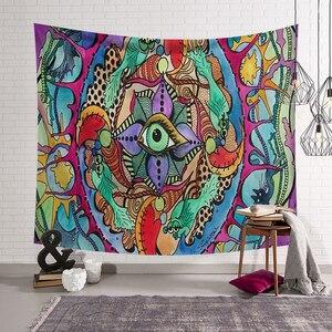 Image 3 - Poliéster Hippie diseño de Mandala tapiz arte de pintura abstracta de pared Gobelin Decoración Para sala de estar artesanía tapices GT0024