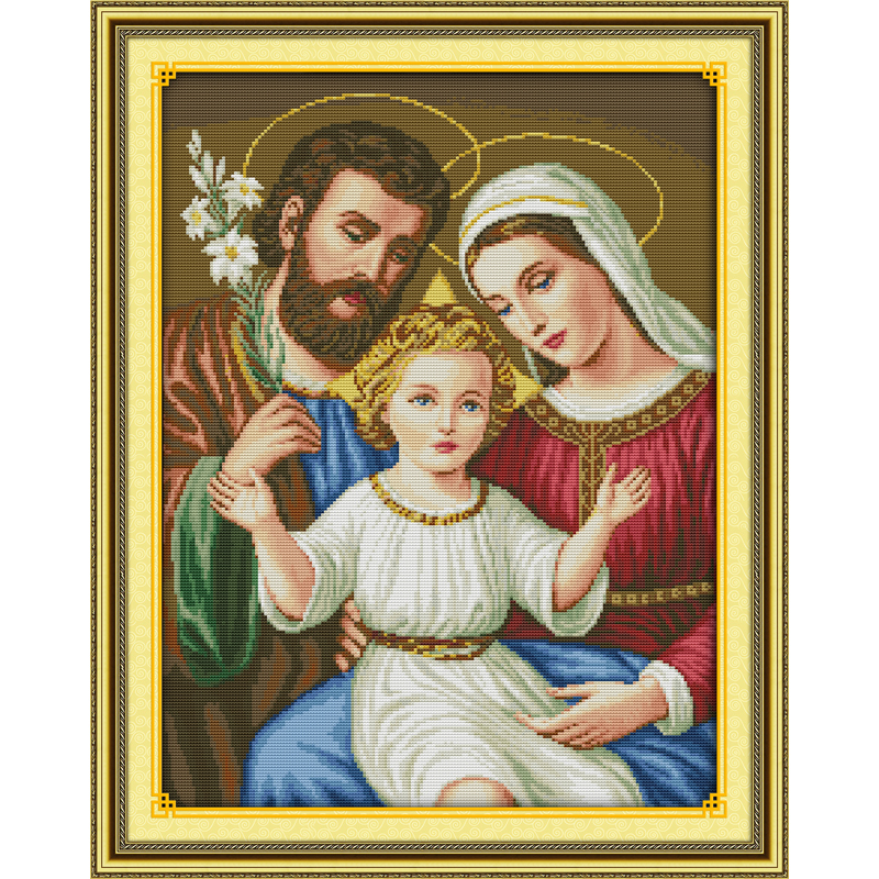 Everlasting love Jesus family Chinese cross stitch kits Ecological cotton stamped printed 11CT DIY wedding decoration for home in Package from Home Garden