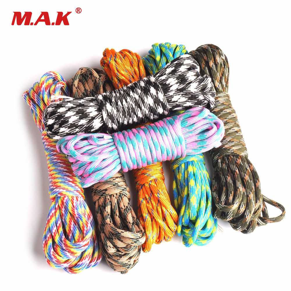 20/50/100FT 550 Paracord Rope Camping Paracord Lanyard Accessories Parachute Deg For Camping Equipment & Survival