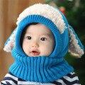 Bonito Gorro de Inverno Do Bebê Crianças Menino & Menina Earflap Malha De Lã Quente Chapéu Cachecol com capuz Natal Adereços Fotografia