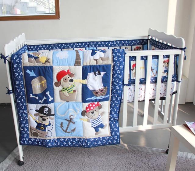 Ups Free 7 Pcs Cartoon Baby Bedding Set Pirate Cradle Crib Cot Cunas