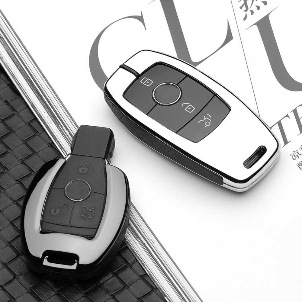 Altíssima qualidade Conjunto Chave Do Carro Shell Caso Bolsa Protetora Bolsa Chave Para Mercedes Benz 2017 2018 E Seriados E300 E200 maybach S320L S450