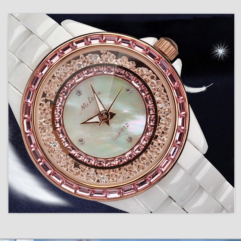 Melissa Marque De Luxe Femmes Complet En Céramique Bracelet Montres Déménagement Cristal Sables Bijoux Montre Shell Japon Montre À Quartz Montre