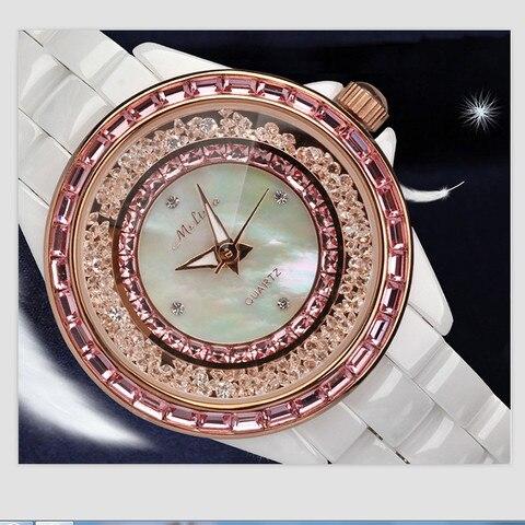 Marca de Luxo Areias de Cristal Pulseira de Cerâmica Relógio de Pulso Melissa Mulheres Relógio Jóias Shell Cheio Relógios Movimento Japão Quartz Montre