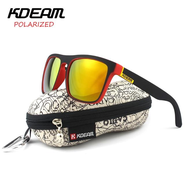 b3d44a99cd KDEAM Polarized Sunglasses 2018 Hot Men Sport Sun Glasses Metal Hinges HD  Polaroid lens Square Frame With Hard case 13 Colors