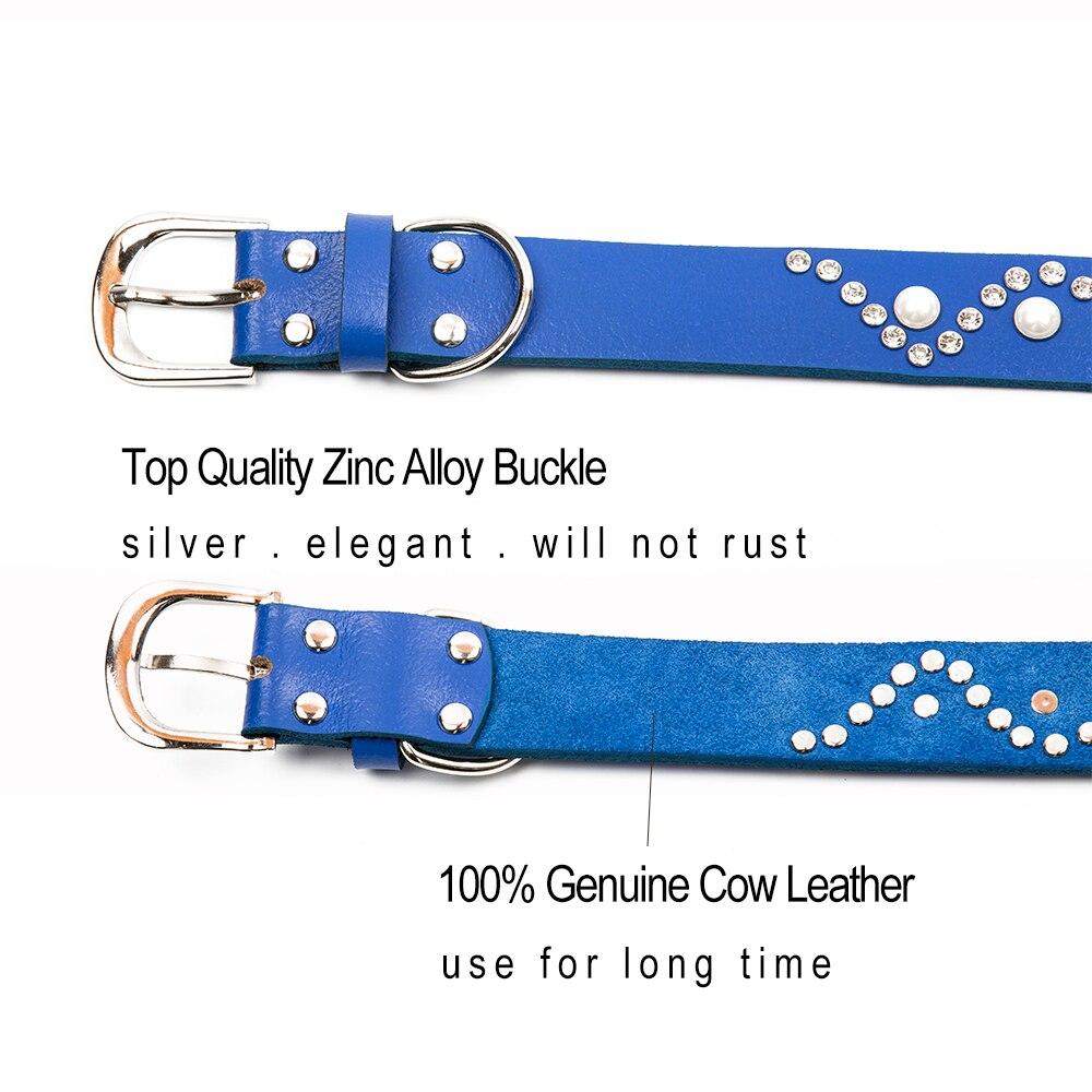 T-MENG prekės ženklo natūralios odos šunų apykaklės švino - Naminių gyvūnėlių produktai - Nuotrauka 3