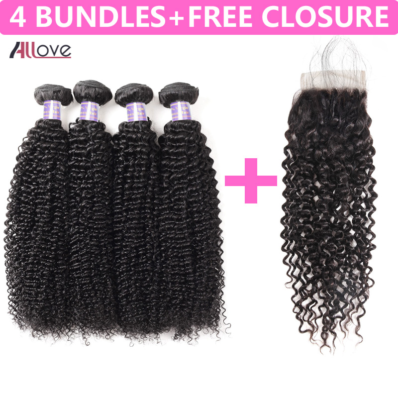 Allove Indian Kinky Curly Hair Bundles 4Pcs Lot Natural Black Hair Remy Human Hair Weave Buy