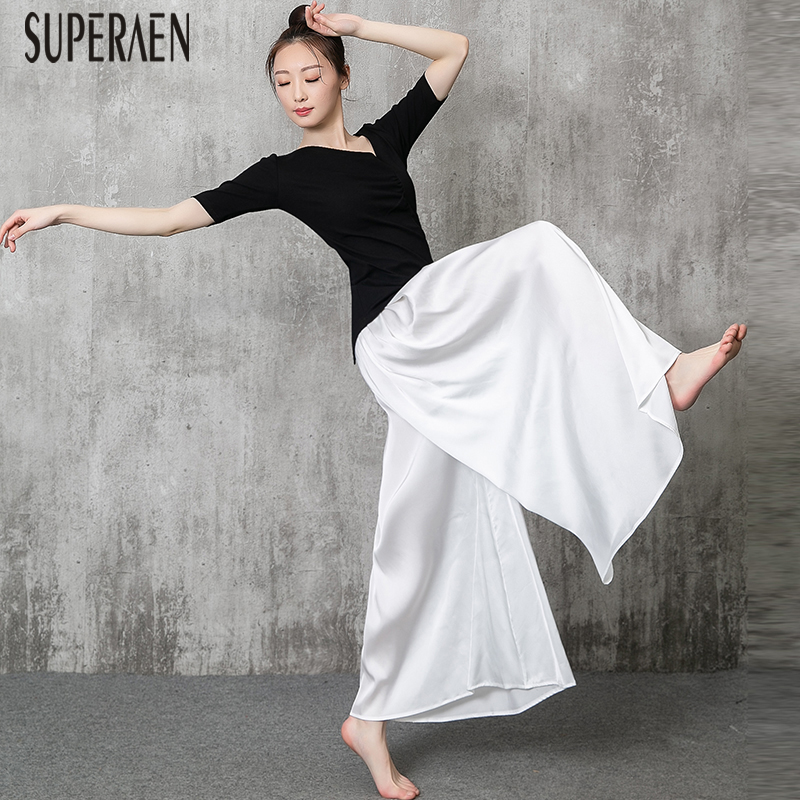 New Casual Women   Pants   Solid Color Wild Chiffon   Wide     Leg     Pants   Female Summer 2019 Elastic Waist Long   Pants   Women