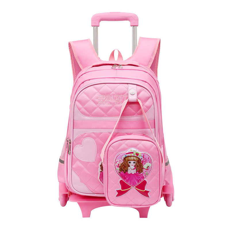Brand Trolley School Backpack For Children Wheeled Luggage Bags For grils Kids Wheel Sch ...