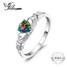 JewelryPalace Black Fire Opal Multicolor Irish Claddagh Rainbow Ring Solid 925 Sterling Silver Love Heart Gemstone Jewelry