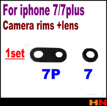 1set for iphone 7 7p plus 4.7 / 5.5 back Rear camera lens Glass Built-in Camera rims Camera lens