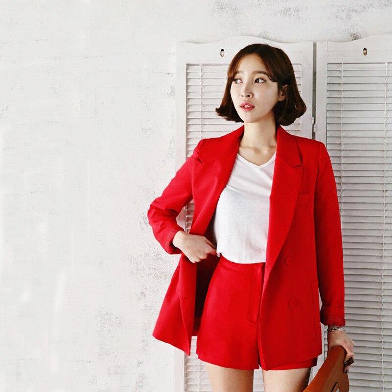 Printemps Nouveau Petit Costume Coréen Femmes Shorts Occasionnels Mis Ensemble en deux pièces Élégant Attrayant Couleur Office Lady Costumes de femmes costumes