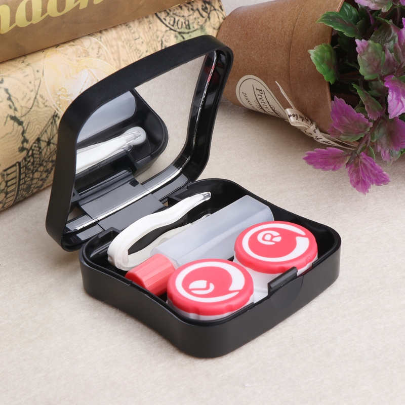 Symbols Pattern Contact Lens Case Box Holder Storage Travel Portable Accessaries