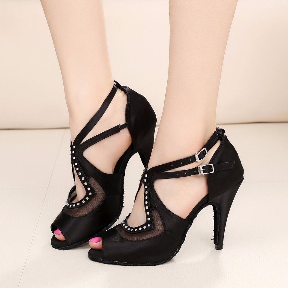 Black Satin Women Ballroom Latin Dance Shoes Salsa Sandal Female Social Party Tango Dance Shoes High Heels 7.5/8.5/10cm VA20817