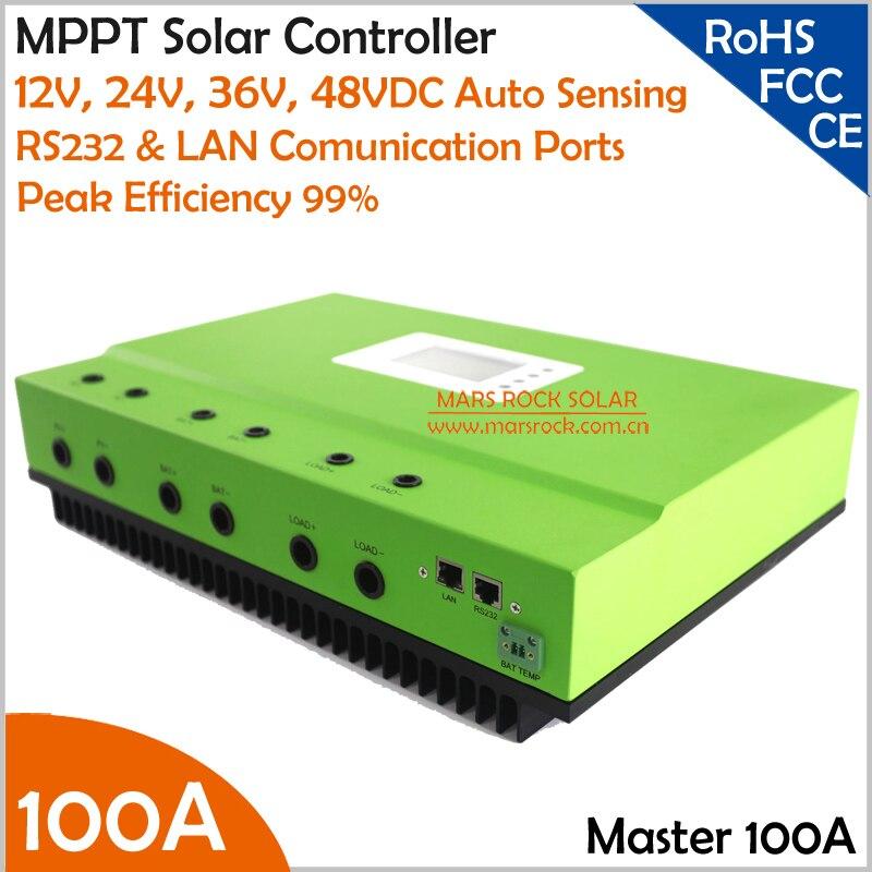 100A MPPT Solar Charge Controller with High Intelligent Auto Sensing DC12V 24V 36V 48V System and RS232& LAN Communication Ports 10a 12v24v solar charge controller intelligent power system