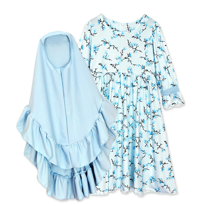 Ramadan Children Kaftan Kids Abaya Turkey Dubai Arabic Muslim Dress Elbise Hijab Dress Caftan Marocain Girl Islamic Clothing