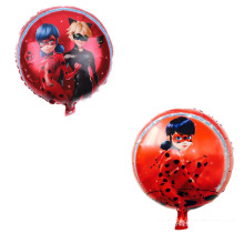 New 18 round aluminum film balloon single ladybug girl double