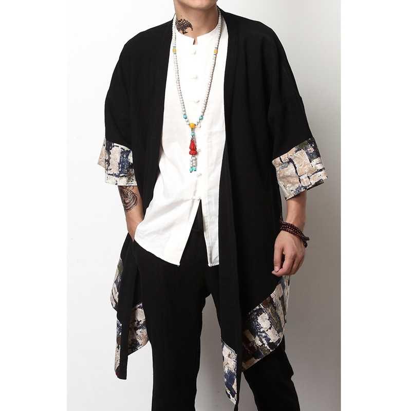 일본 streetwear 의류 일본 기모노 남자 재킷 하라주쿠 유카타 남자 폭격기 재킷 traditonal Chinesejackets 남자 A001