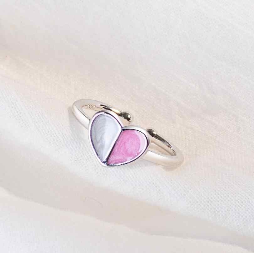 Anenjery Musim Panas Perhiasan 925 Sterling Silver Cincin untuk Wanita Es Krim Jantung Pembukaan Cincin Teman Hadiah S-R319
