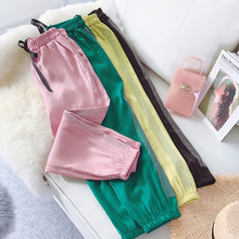 AcFirst New Spring Women Fashion Green Pink Yellow Long Loose Pants Harem High Waist Full Length Female Tie