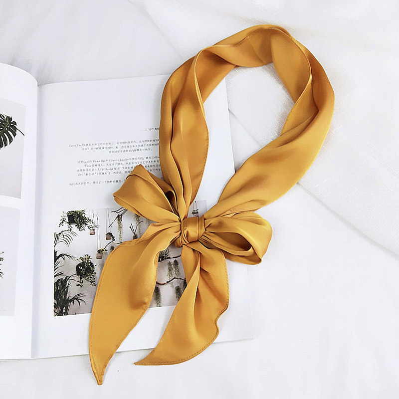 Women Ladies Fashion Square Scarf Head Neck Silk Feel Elegant Small Skinny Satin Hair Tie Band Pashmina Solid Color Bandana