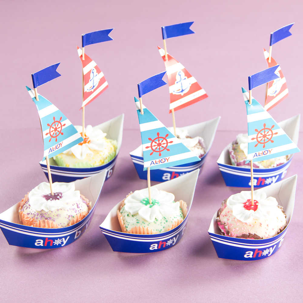 Cool Pack Of 20 Set Sail Sailboat Birthday Party Cake Toppers And Funny Birthday Cards Online Sheoxdamsfinfo