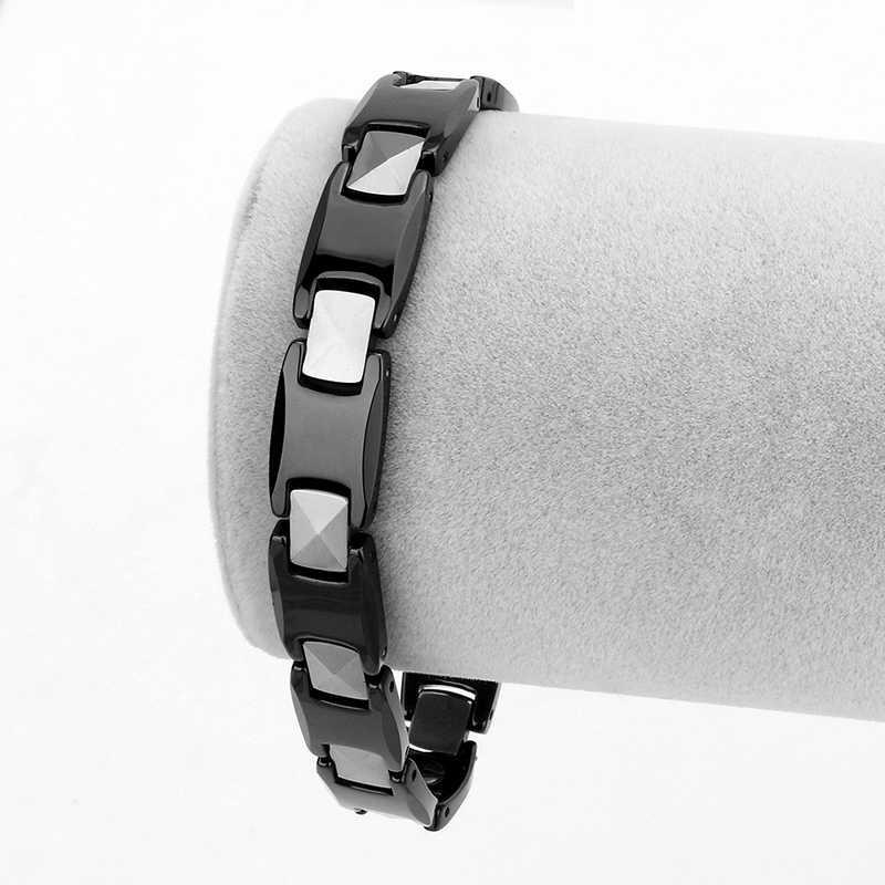 2018 Cool Magnetic Bracelet Ceramic Hematite Stone Therapy Health Care Magnet Hematite Beads Energy Bracelet Women Jewelry