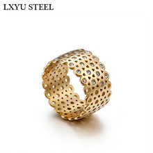Stainless Steel Bulgaria Gold/Silver Rings For Women 12mm Width Rhinestone Grid Charm Finger Size 6-9 Wedding Band Jewelry