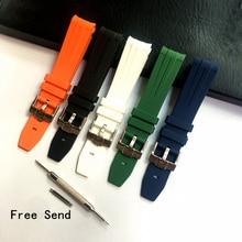 MERJUST 20mm Black White Blue Green Orange Silicone Rubber Watch Strap Watchband for Omega Seamaster Role Submariner Daytona все цены