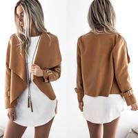 Nowy moda damska płaszcz lapel krótkie kurtki z długim rękawem nieregularne rodzaj kobiety kurtka