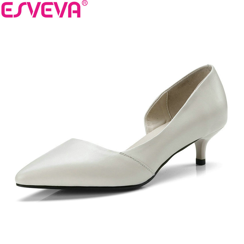 ESVEVA 2018 Women Pumps Simple and Fashion Style Med Heels Cow Leather PU Spring Pointed Toe Thin Heels Pumps Shoes Size 34-41 facndinll 2018 spring women pumps shoes med heels pointed toe rivets patent leather rome style shoes woman casual shoes pumps