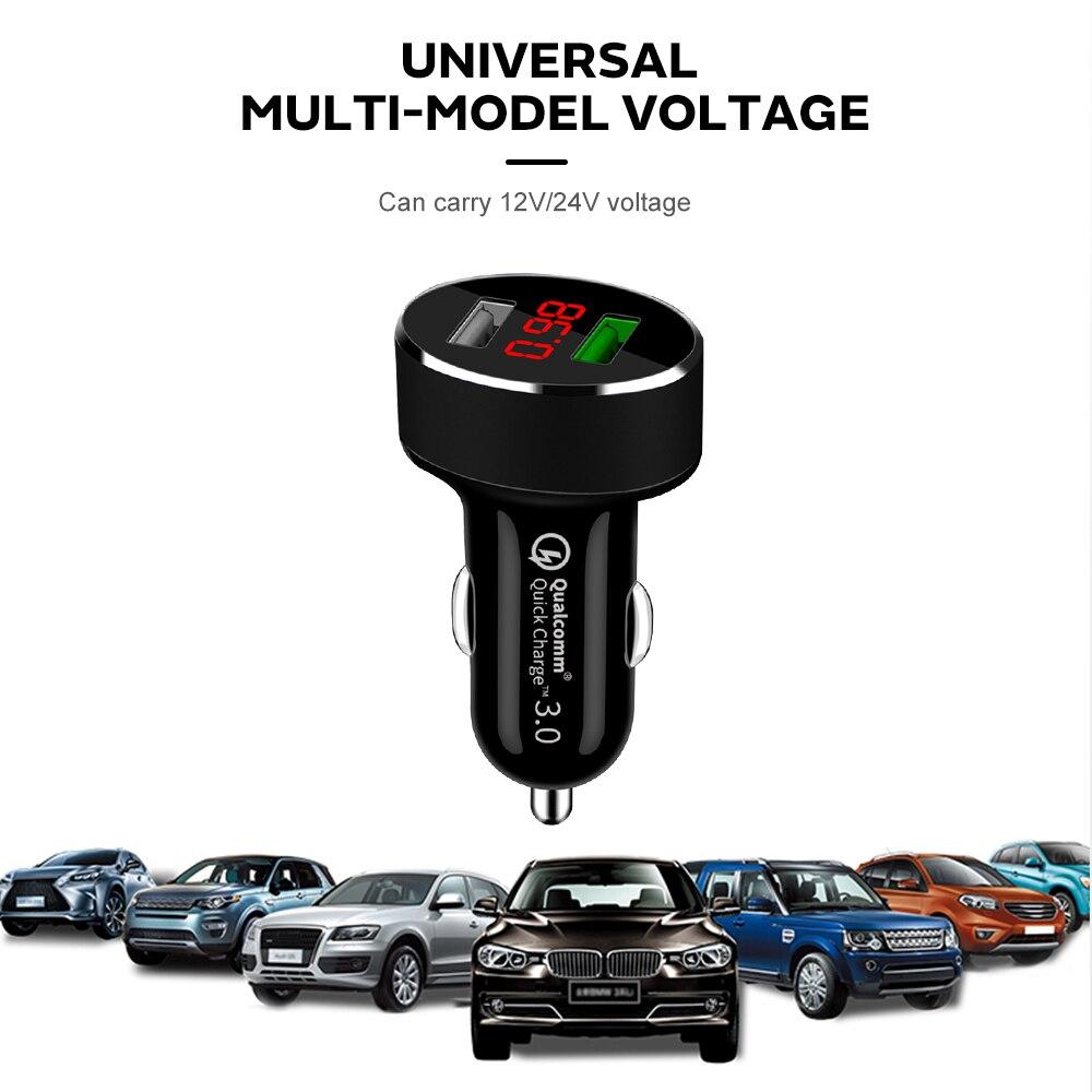 QC3.0 двойной USB автомобильный прикуриватель зарядное устройство для телефона разветвитель гнездо адаптер 2.4A СВЕТОДИОДНЫЙ монитор напряжения Авто Автомобильный USB Разъем конвертер