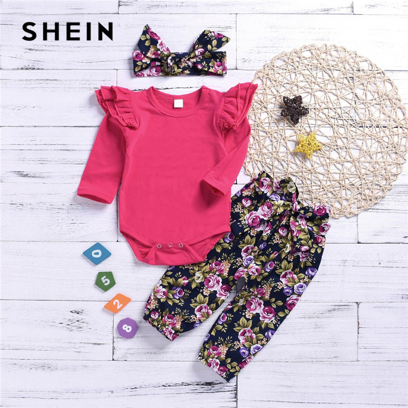SHEIN Kiddie Toddler Girls Frill Trim Top And Floral Print Pants With Headband 2019 Cute Long Sleeve Casual Kids Clothes frill trim bow tie front pants