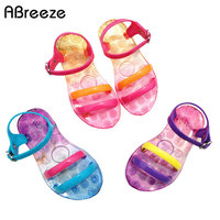 14 18cm 2015 New Girls Jelly Shoes Fashion Gradient Candy Color Crystal Shoes Sandals For Child