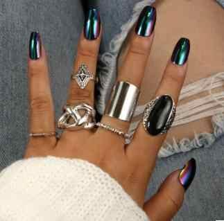 6 ชิ้น/เซ็ตโบฮีเมียโบราณเงินลูกศรสีดำ Rhinestone Charm ชุดแหวนสำหรับเครื่องประดับ Party Party