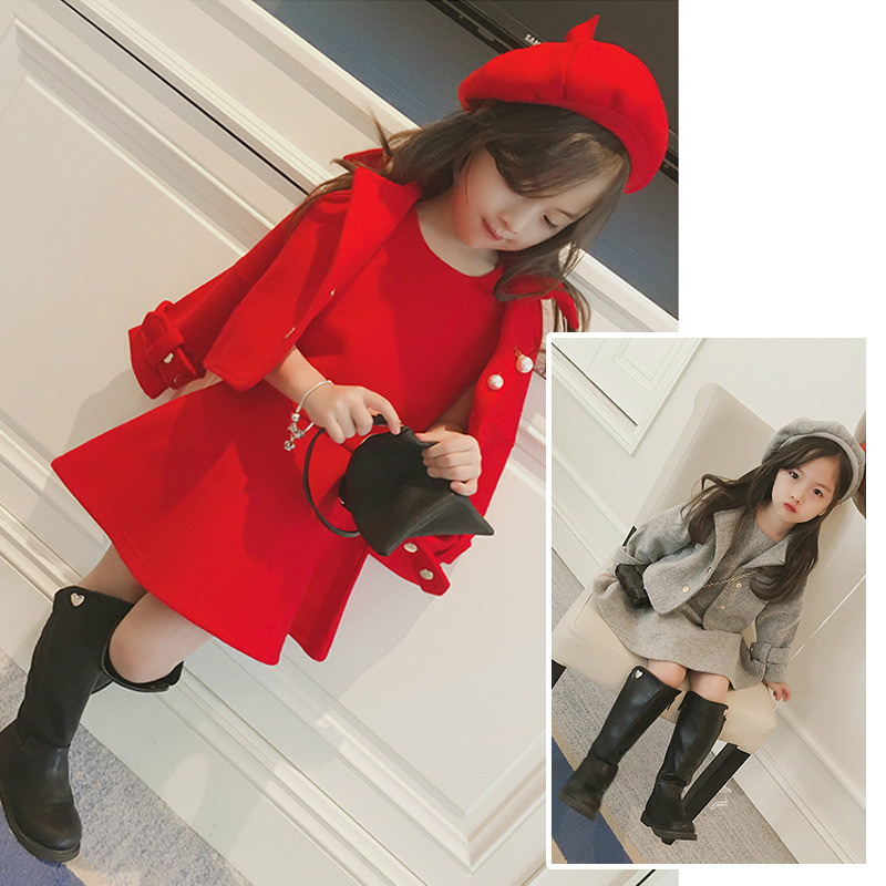 Baby Girls Clothing 2018 New Autumn Three-piece Suits Sleeve Dresses  +  Coat  +  Hat Sweet Kids Girl Children Clothes 5cs248