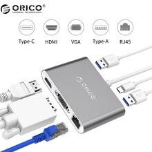 ORICO Aluminio Tipo-c para VGA/HDMI/RJ45/Tipo-C/Tipo-Un Convertidor USB3.1 Gen1 con 2 Puertos USB para Mac (RCNB)