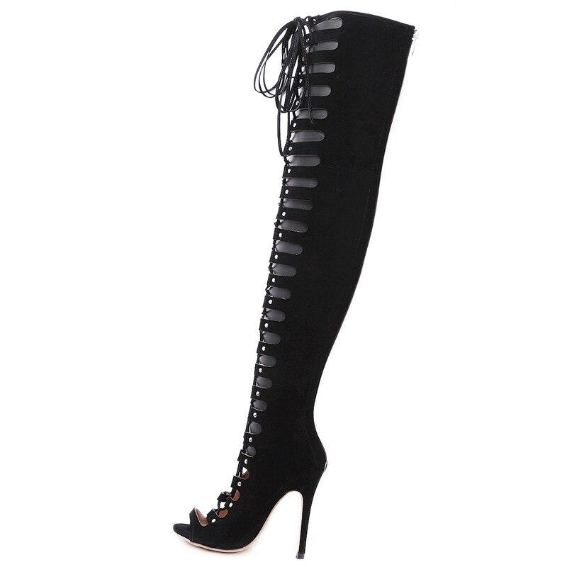 Liée Femme Noir Talons Croix Dames Zip Sexy Creux Chaussures Taille Hauts Grande Le Sur Genou Partie Décontracté 40 Pour D'été Flambant Bottes Sarairis Neuf fwg64