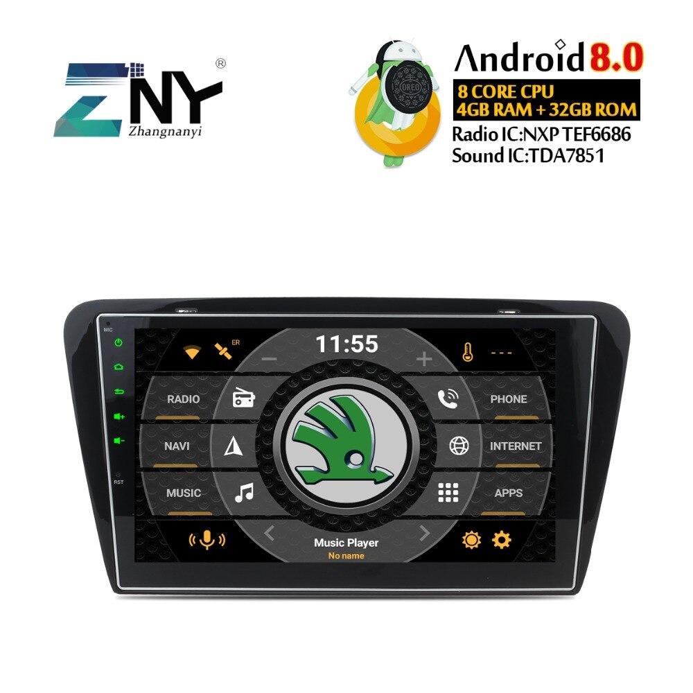 4 gb RAM 10.1 Android 8.0 Stéréo De Voiture Pour Skoda Octavia A7 2013 2014 2015 2016 Auto Radio GPS navigation Audio Vidéo WiFi Aucun DVD