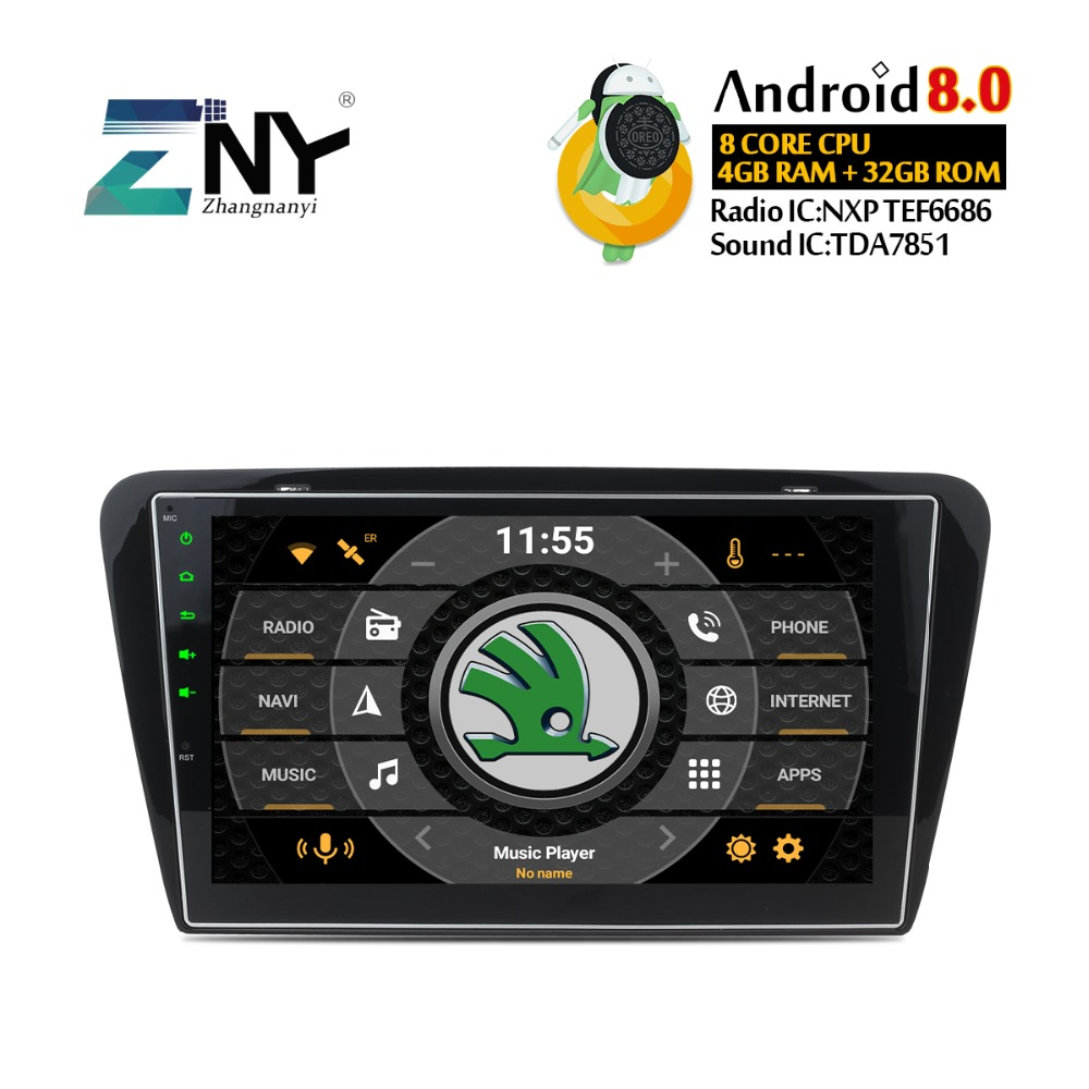 4GB RAM 10.1 Android 8.0 Car Stereo For Skoda Octavia A7 2013 2014 2015 2016 Auto Radio GPS Navigation Audio Video WiFi No DVD car dvd gps android 8 1 player 2din radio universal wifi gps navigation audio for skoda octavia fabia rapid yeti superb vw seat
